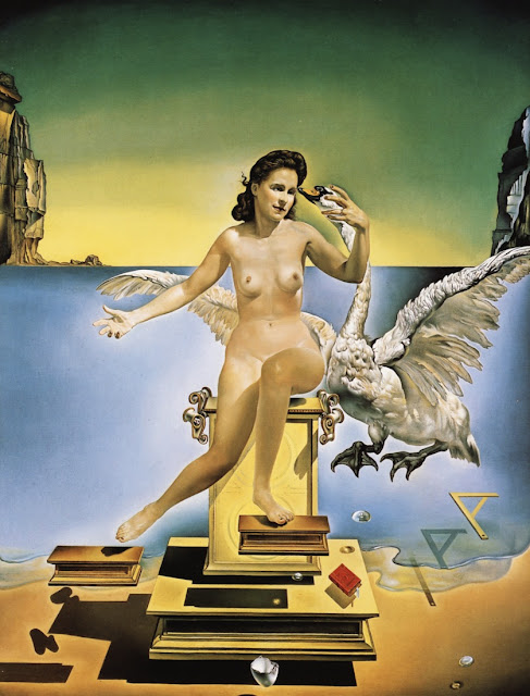 surrealism in leda atomica painted by salvador dali Leda atomica is a painting by salvador dalí, made in 1949 the picture depicts leda, the mythological queen of sparta, with the swan leda is a frontal portrait of dalí's wife, gala, who is seated on a pedestal with a swan suspended behind and to her left.