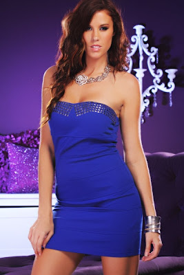 ROYAL BLUE SEXY STRAPLESS FITTED STUDDED BANDAGE DRESS