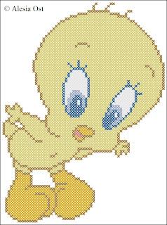 Free cross-stitch patterns, Tweety Bird, bird , Looney Tunes, Merrie Melodies, cartoon, cross-stitch, back stitch, cross-stitch scheme, free pattern, x-stitchmagic.blogspot.it, вышивка крестиком, бесплатная схема, punto croce, schemi punto croce gratis, DMC, blocks, symbols