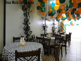 balões verde laranja, tecido xadrez, tecido animal print, móveis rústicos, galinhas de tecido, festa infantil, decoração