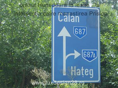 la iesirea din Hunedoara se face dreapta catre Hateg si manastirea Prislop pe drumul judetean DJ687A