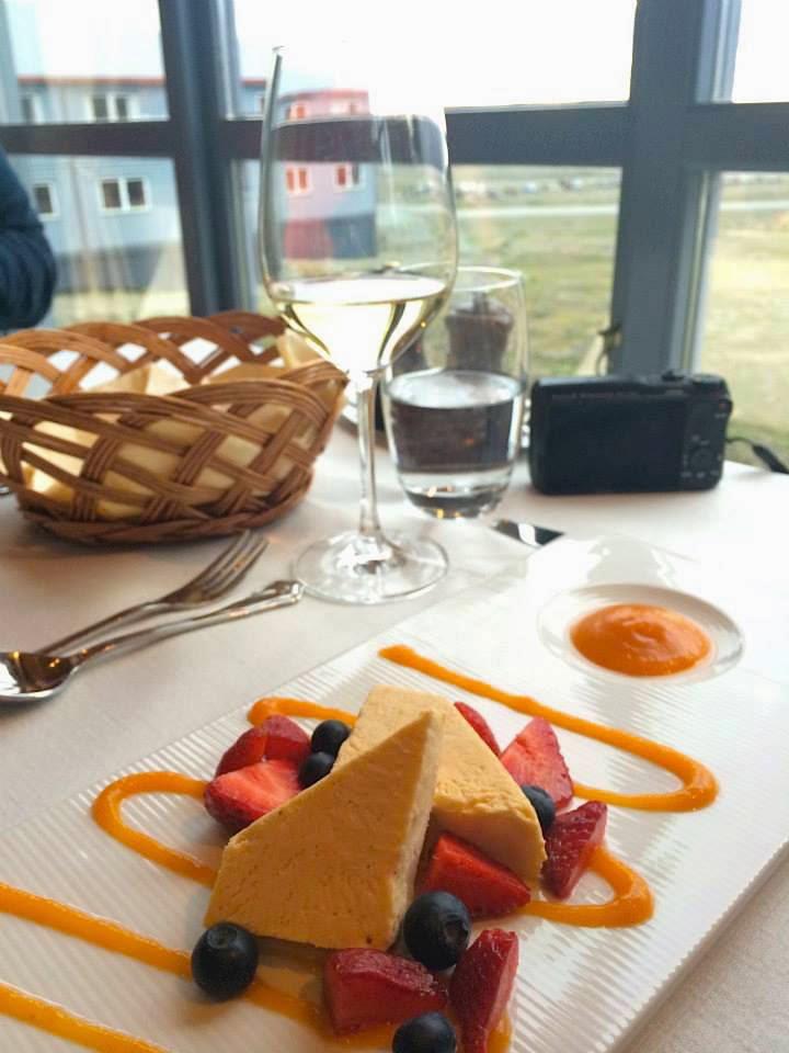 Cloudberry Parfait in Nansen Radisson Polar Hotel Svalbard Spitsbergen Longyearbyen. Fine dining dessert.