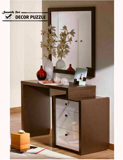 wooden small dressing table designs with mirror