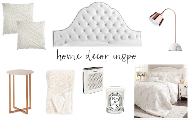 guest room inspiration white tufted headboard white bedding copper accents