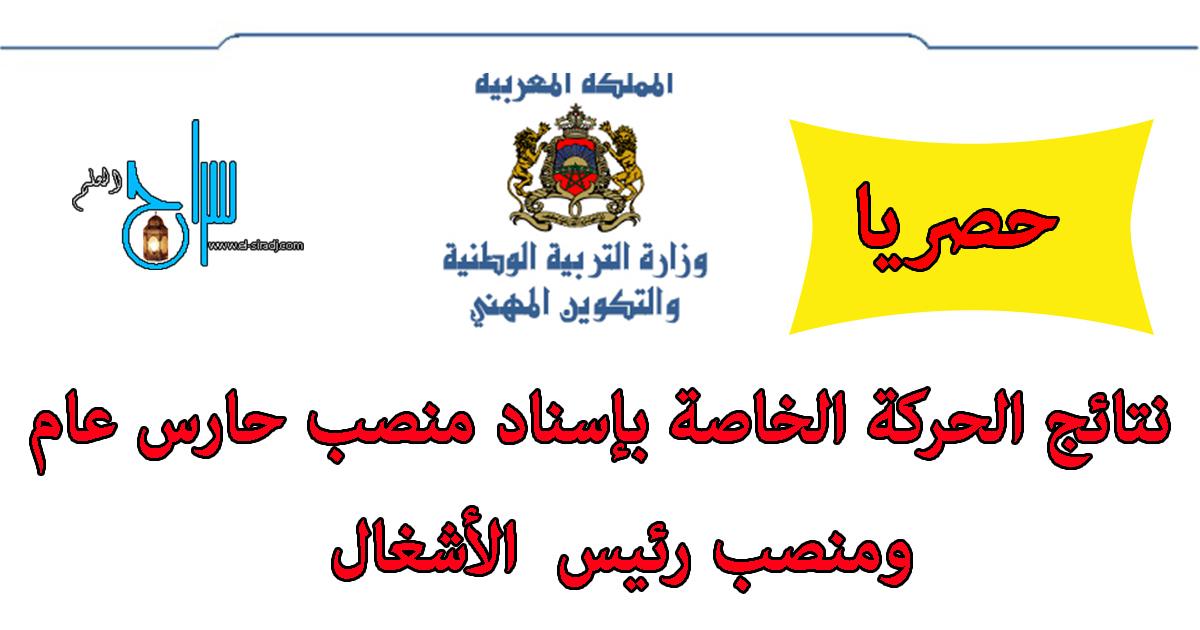 نتائج الحركة الخاصة بإسناد منصب حارس عام ومنصب رئيس الأشغال