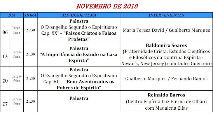 Palestras para o mês de novembro de 2018, na Associação Cultural Espírita Helil - Faro
