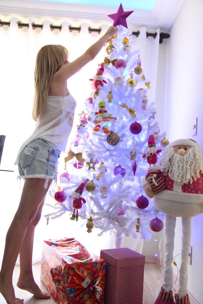 decoracao de arvore de natal vermelha e branca:Decorações de árvores de natal