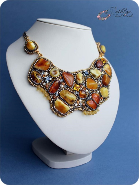 Irregular nugget bead embroidered statement necklace