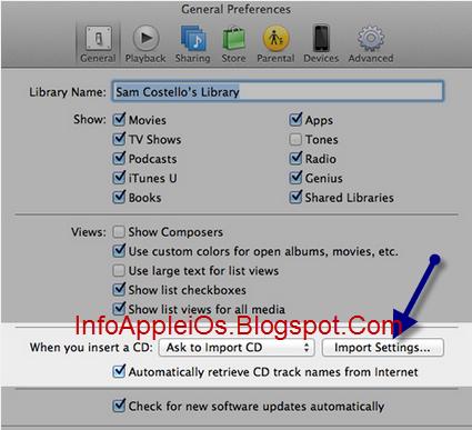 Import Settings Di iTunes MP3