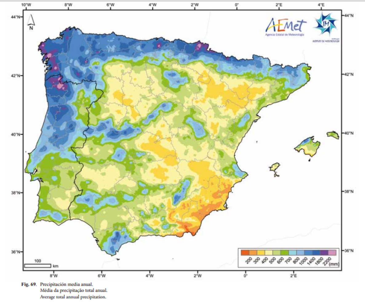Iberians Climate Maps Warm Records Temperatures Rainfall - Portugal rainfall map
