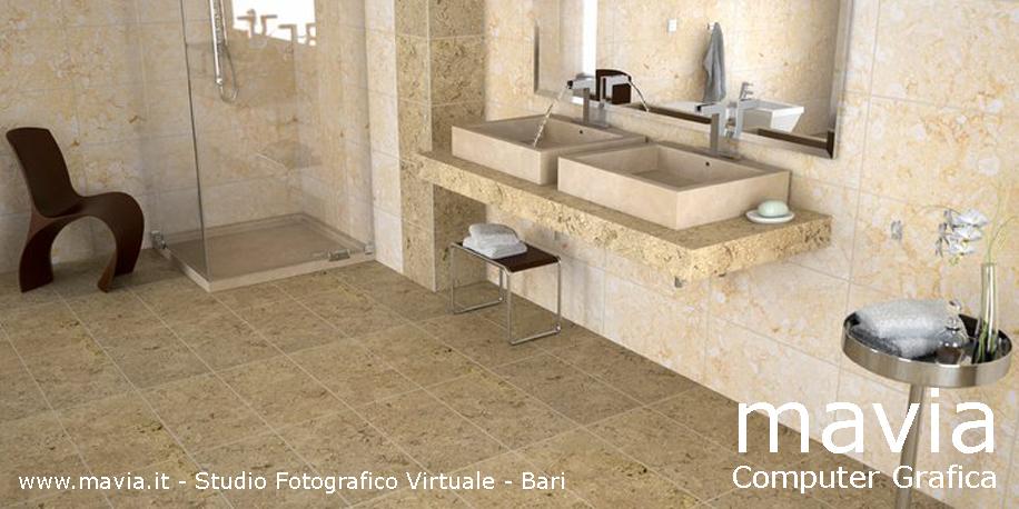 piastrelle mattoni moderni : Arredamento di interni: Rendering 3d interni - Arredo bagno in pietra ...