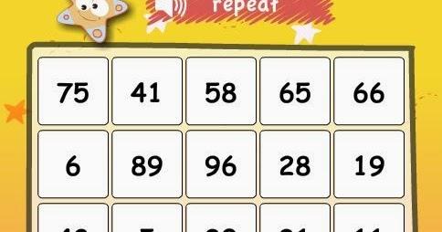 Numbers bingo | First grade Spot