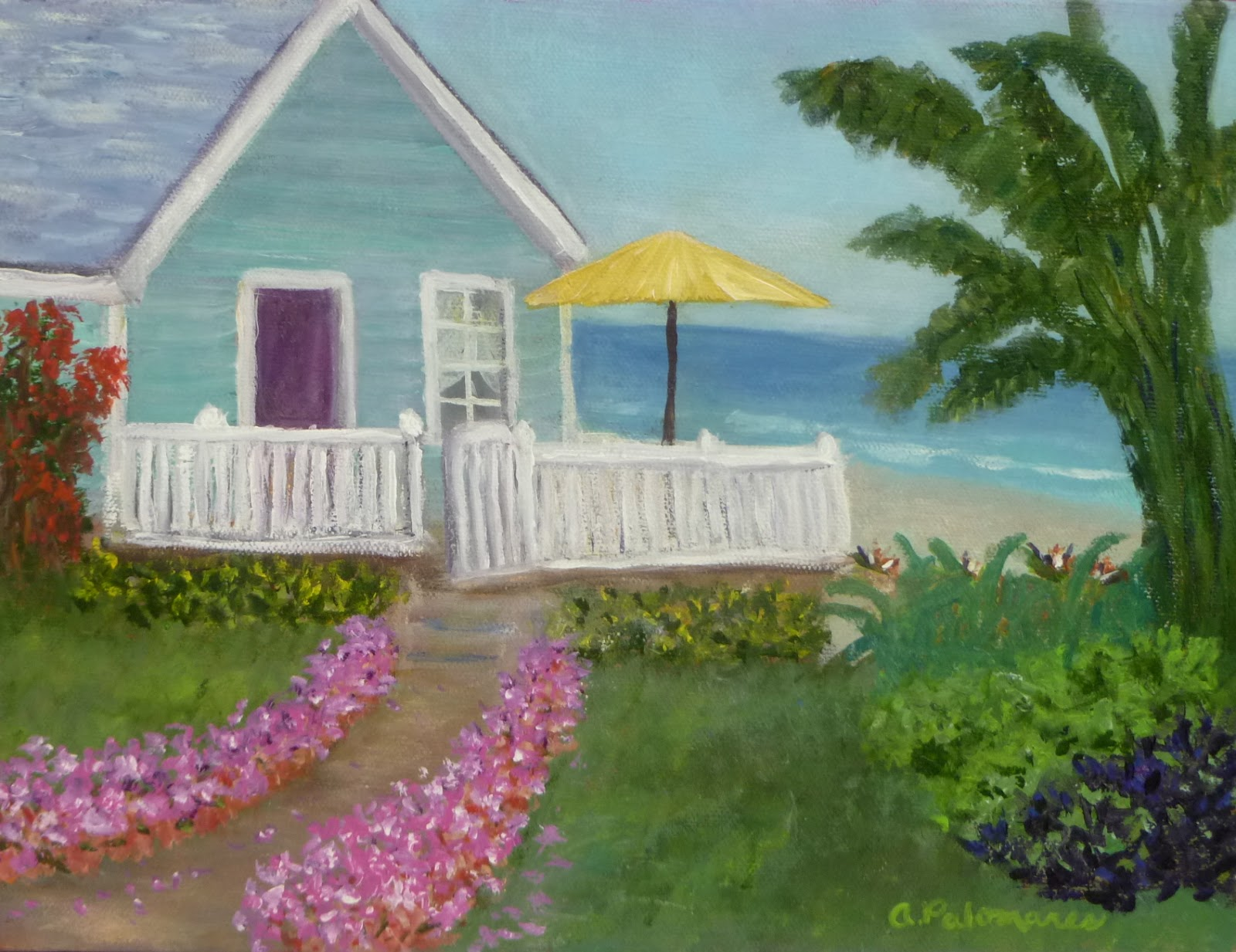 Tropical Beach Cottage Painting COASTAL ART HOME DECOR APPAREL And