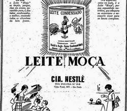 Propaganda do Leite Moça: recomendado para atletas, família e bebês.
