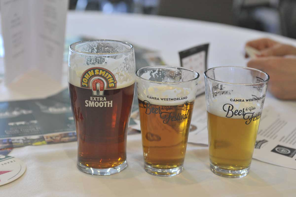 Three glasses of beer