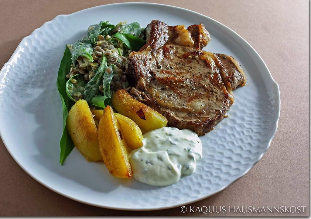 kaquus hausmannskost fr hlingsbote spinat linsen salat mit b rlauch und minze. Black Bedroom Furniture Sets. Home Design Ideas