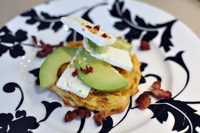Baked Sweet Potato Fritters with Feta, Avocado and Bacon