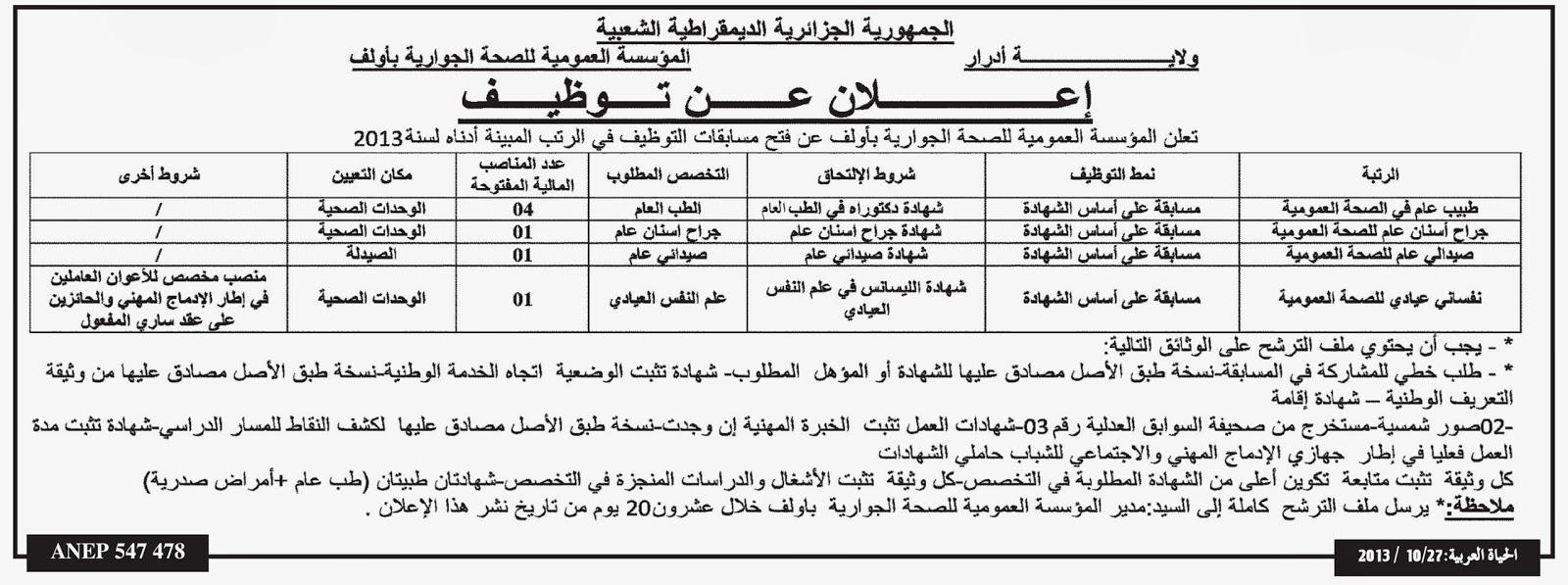 التوظيف في الجزائر : مسابقات توظيف في المؤسسة العمومية للصحة الجوارية  %D8%AC%D8%AF%D9%8A%D8%AF+%D8%A7%D9%84%D9%88%D8%B8%D9%8A%D9%81%D8%A9+%D8%A7%D9%84%D8%B9%D9%85%D9%88%D9%85%D9%8A%D8%A9+%D9%81%D9%8A+%D8%A3%D8%AF%D8%B1%D8%A7%D8%B1+2013