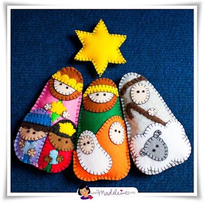 Nacimiento Navidad hecho con fieltro, moldes