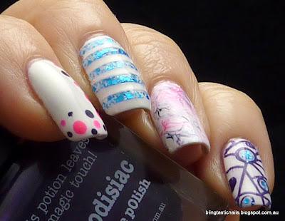 Blog Fest 2013 Picture Polish Aphrodisiac, Splash and Hot Lips Nail Art Manicure
