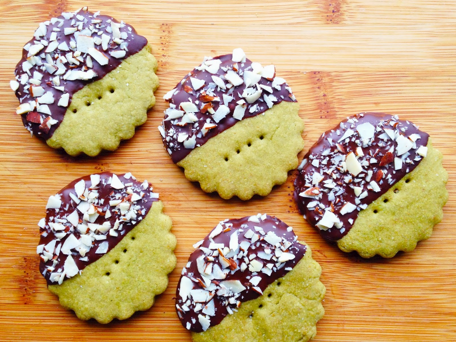Wholly Vegan: Chocolate-Dipped Matcha Green Tea Shortbread Cookies