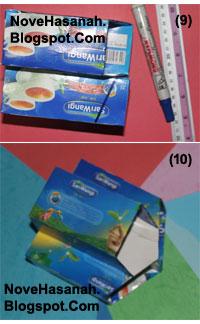 cara membuat atau langkah-langkah pembuatan kotak pensil dari bekas kemasan teh celup dan potongan-potongan ornamen kartu undangan 6