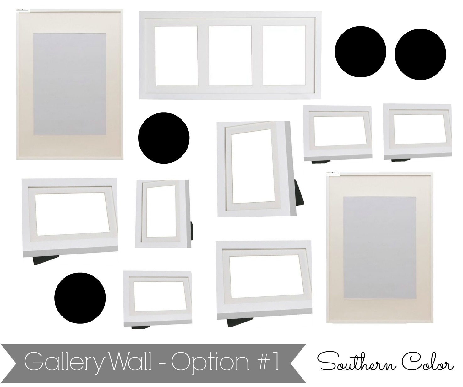 we chose the ikea ribba frames for the gallery wall because of their modern lines and white mattes they compliment the vintage plates perfectly