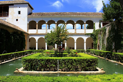 Courtyard of the Sultaness in Generalife Gardens of Granada