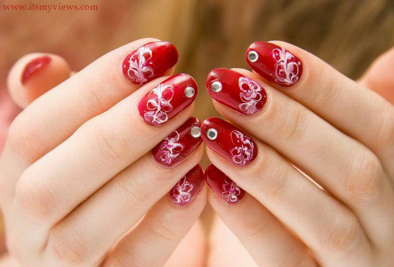 Very Beautiful And Preity Nails Art Red Color Wallpapers Free