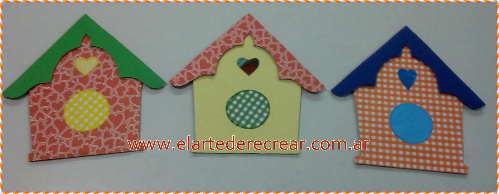 Casa de p jaros en cartulina y en tela estampadas - Casas de tela para ninos ...