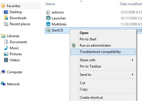 Troubleshoot compatibility windows 8 option