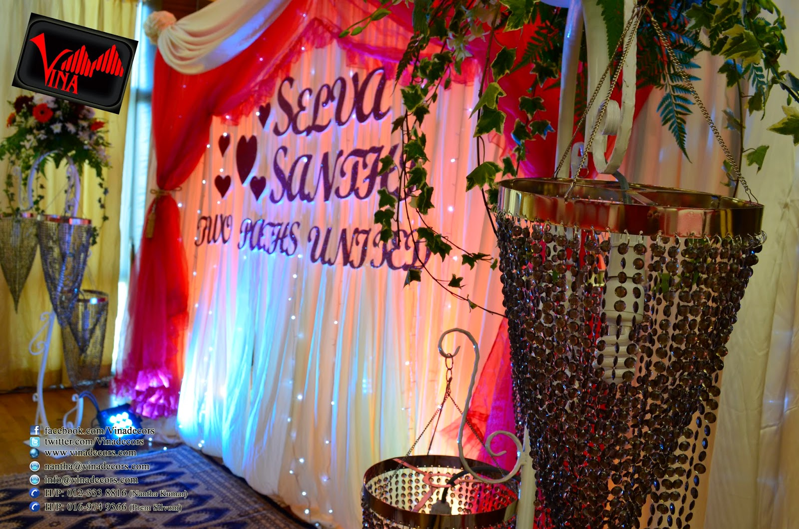 Wedding Dinner Decoration at Sri Putra Mas Condo, Multipurpose Hall, off Jalan Kuching for Selva weds Shanti on 22/02/2014 (Backdrop, Crystal Pillar, Entrance Arch, Table and Chair Setting by Vina Canopy & Decor)