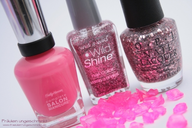 Sally Hansen Shrimply Divine, OPI Pink Yet Lavender und wet n wild Sparked
