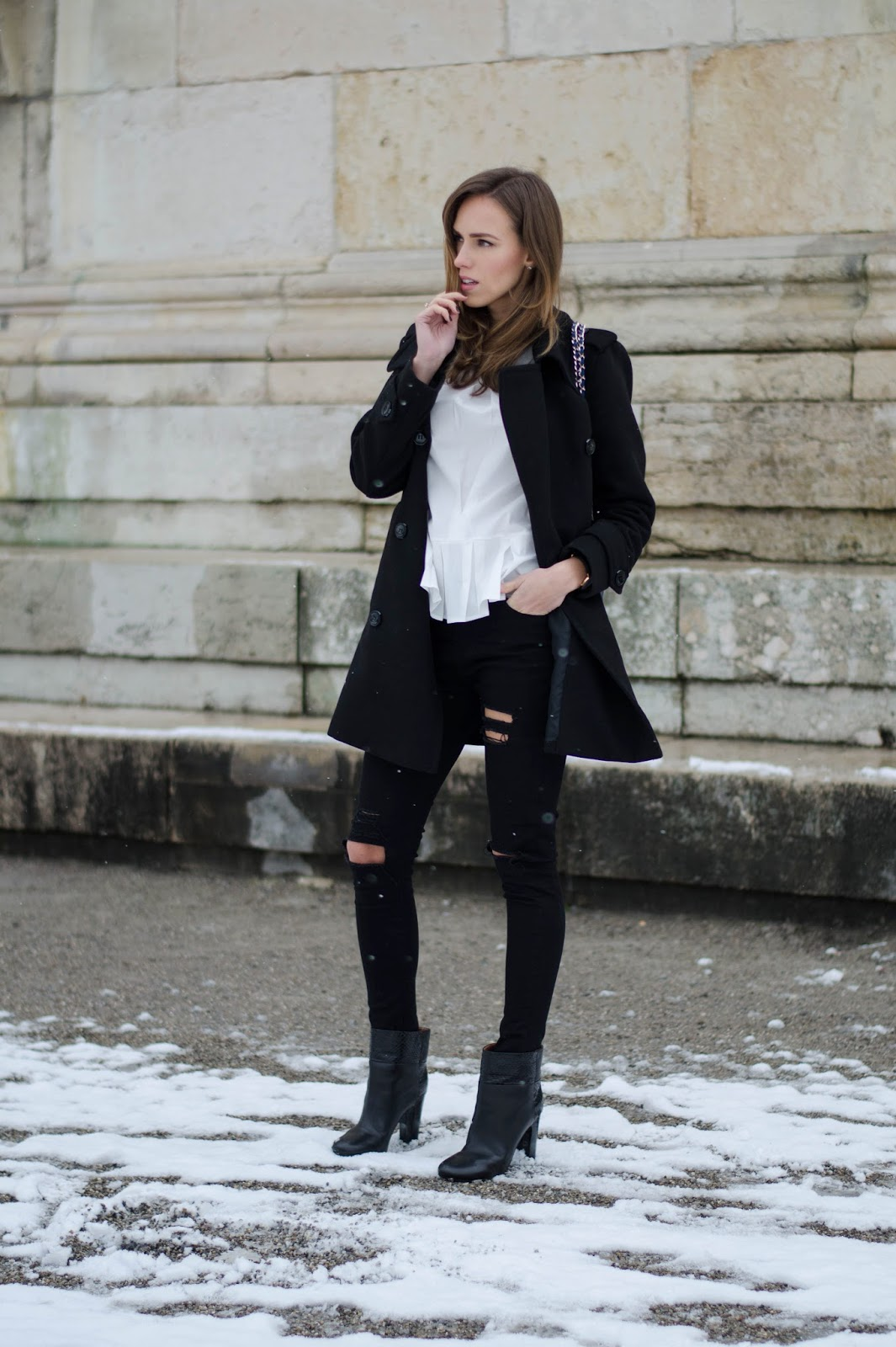 kristjaana mere black peacoat ripped skinny jeans white shirt winter outfit