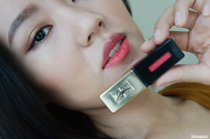 YSL Vernis A Levres Glossy Stain #12 Coral Fauve Swatch and Review7