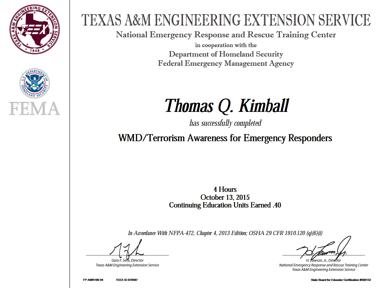 AWR-160-W WMD Terrorism Awareness For Emergency First Responders.