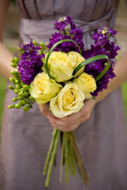 Bouquet Bridal Purple And Yellow Bouquets