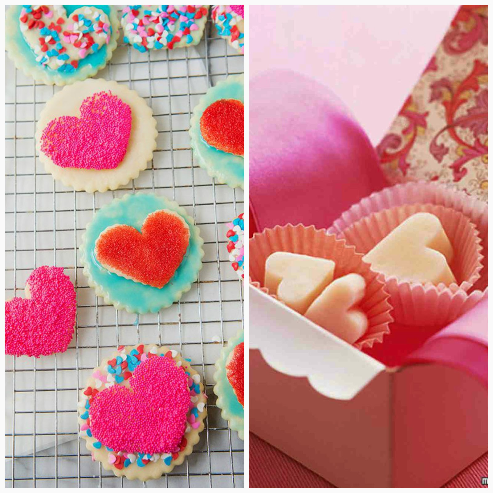 heart cookies and fudge hearts