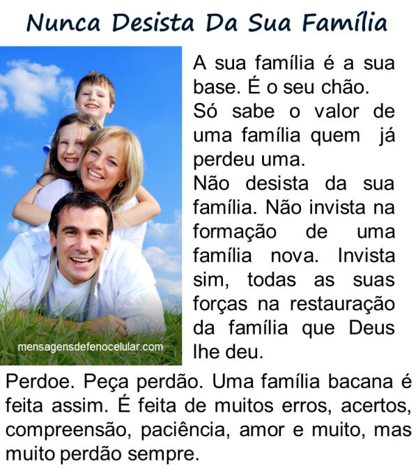 mensagem de Deus para familia nuca desista da sua familia