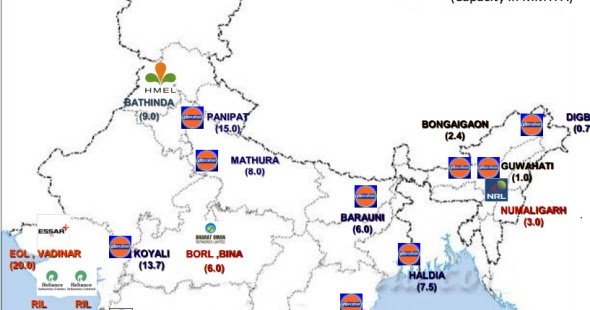 places where petroleum refineries are located in india