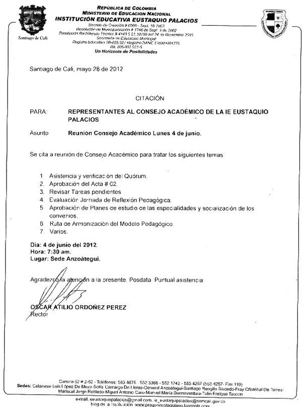 PREGON EUSTAQUIANO: CITACIÓN CONSEJO ACADÉMICO - JUNIO 4 DE 2012