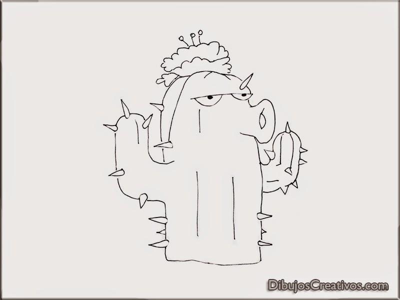 Dibujos para colorear Cactus Plantas VS Zombies - Imágenes Dibujos ...