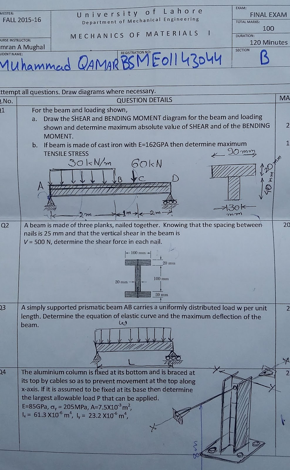 Uol Notes 2016 Bending Moment Diagram Uniformly Distributed Load 3rd Sysmaster Papers