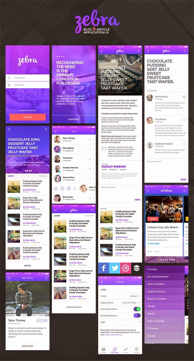 App Screens UI PSD for Blog