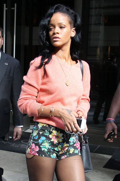 Rihanna With Floral Printed Shorts
