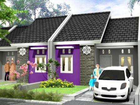 ide cat rumah minimalis warna ungu tampak depan