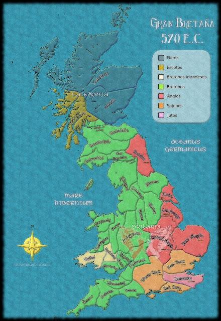 Mapa de Gran Bretaña 570 E.C.