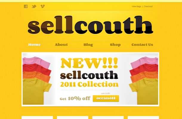 Free Yellow Tshirts Store CSS Website Template