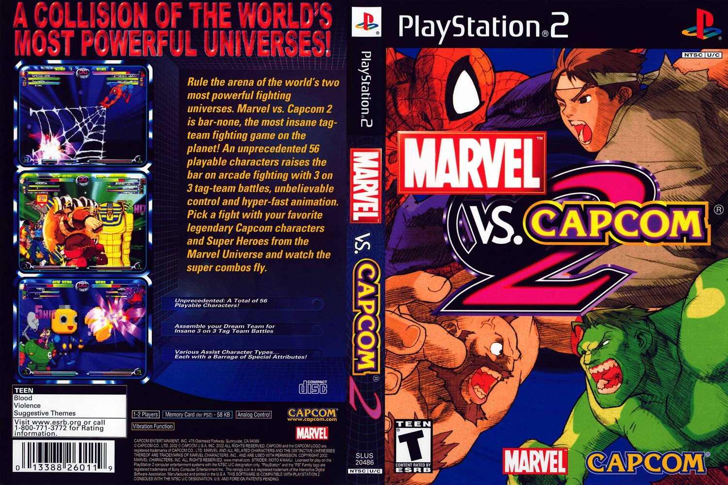 Game marvel vs capcom 2 new age of heroes playstation 2