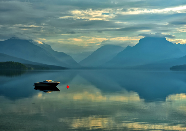 Red Buoy at Lake McDonald by Jeff Clow